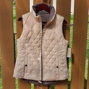 Pale pink and gray Reversible Puffer Vest
